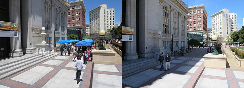 Vendors help create a lively atmosphere (left) in what is normally a boring empty space (right).