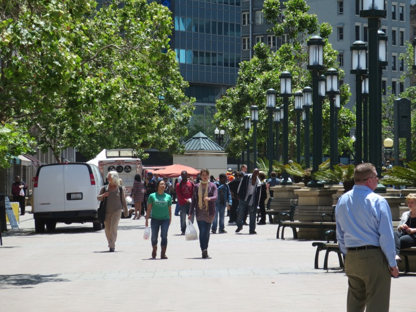 Ogawa Plaza was busy on this beautiful May day. Plenty of seating is available while people walk to and from the Adult Recess