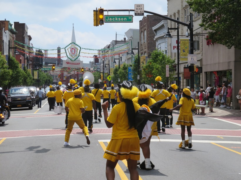 The Malcolm X Shabazz Marching Band marching towards 5 points in the Ironbound