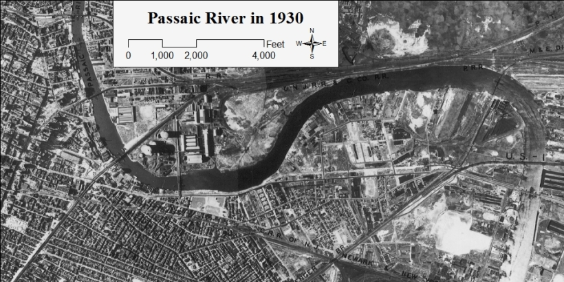 Newark and the Passaic River in 1930