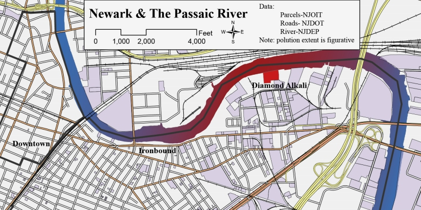 Industrial activity separated Newark from its riverfront and now the Passaic River is a superfund site