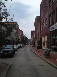 Baltimore Street in Cumberland, MD combines a small street with numerous small storefronts for a potentially vibrant streetscape.
