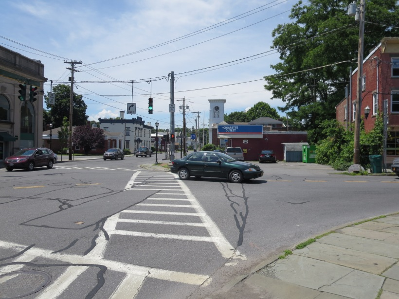 At the intersection of Market St. and Main St. in Saugerties, pedestrians are made to feel unwelcome, cutting off a potential extension of the commercial downtown.