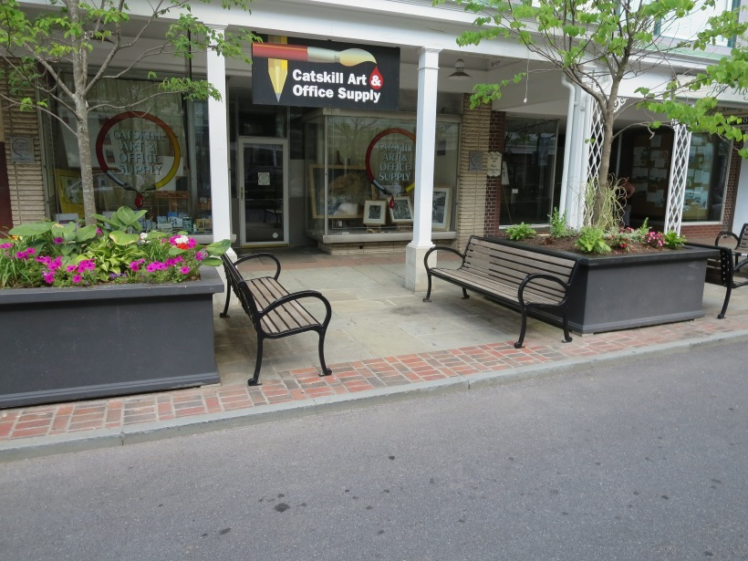 These benches, in Kingston, are facing each other promoting conversation