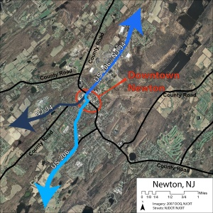 The major routes going through Newton are US 206 and NJ 94. Along the northern end, this route carried 23,615 cars a day in 2007, the Southern section of US 206 carried 12,465 cars a day in 2007 and the southern section of NJ 94 carried 14,583 cars a day in 2007.