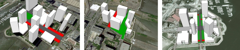 Left: The southern part of River Drive in Jersey City has many large gaps (shown in red) between buildings detracting from the sense of space. Center: The northern part of River Drive uses an A-B street combination creating a great pedestrian street (in green) and a car dominated street (shown in red). Right: The Vancouver style of building as seen at Marinaside Crescent and Drake Street maximizes the street frontage of the buildings (shown in green) and minimizes car dominated areas (shown in red).