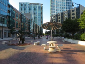 In the northern section of River Drive in Jersey City, there is a great plaza and the pedestrian experience is great.