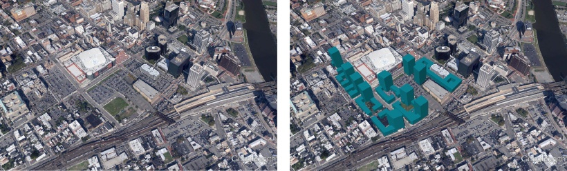 Left: Google Earth shows downtown Newark and its parking crater between Penn Station and the Prudential Center. Right: Vancouver style development (in teal) could fill this parking crater, framing the  street while bringing in new residents and jobs.