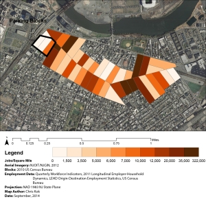 Employment density within the Ferry Street Corridor