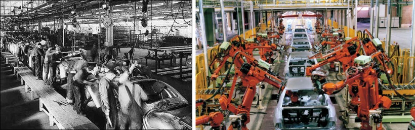 Auto assembly line of yesterday and today Images:  libcom.org (left), john-steppling.com (right)
