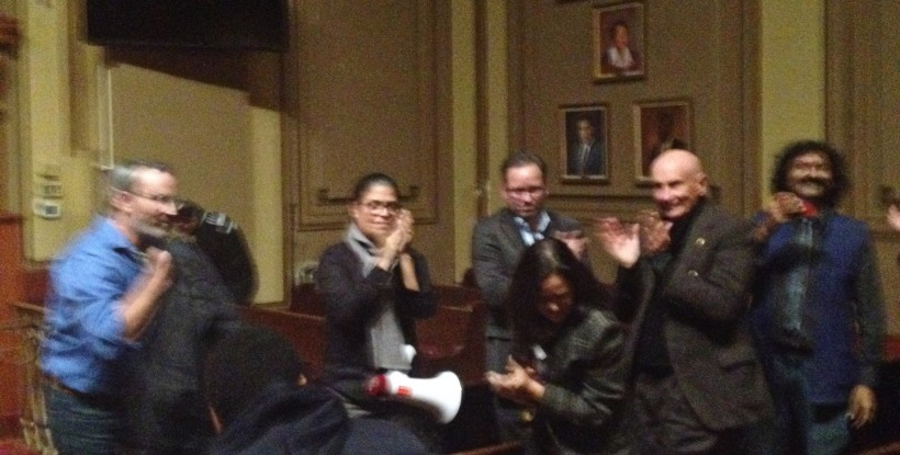 Members of PLUG celebrate victory at the Newark Zoning Board of Adjustment