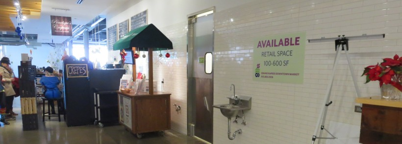 One of the several small shops next to available space in the Grand Rapids Downtown Market. The ability to rent kitchen space as well as retail space as small as 100 square feet is allowing new companies to be created.