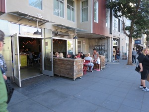 Outdoor seating provides many options for increased interaction among customers and pedestrians.