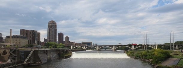 The Mississippi River as seen from the Stone Arch Bridge.
